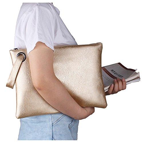 Aladin Oversized Clutch Bag Purse, Womens Large leather Evening Wristlet Handbag (Large Gold Leather)