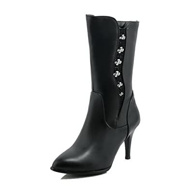 Women's Solid PU High-Heels Zipper Pointed Closed Toe Boots