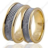 950 Platinum and 18K Yellow Gold Wedding Rings Set, 7mm Wide