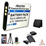 Halcyon 1500 mAH Lithium Ion Replacement LI-50B Battery + Memory Card Wallet + SDHC Card USB Reader + Deluxe Starter Kit for Olympus Stylus 1010, Stylus 1020, Stylus 1030 SW, Stylus 9000, Stylus 9010, Tough 6000, Tough 6010, Tough 6020, Tough 8000, Tough