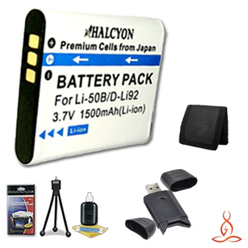 Halcyon 1500 mAH Lithium Ion Replacement LI-50B Battery + Memory Card Wallet + SDHC Card USB Reader + Deluxe Starter Kit for Olympus Stylus 1010, Stylus 1020, Stylus 1030 SW, Stylus 9000, Stylus 9010, Tough 6000, Tough 6010, Tough 6020, Tough 8000, Tough  by Halcyon