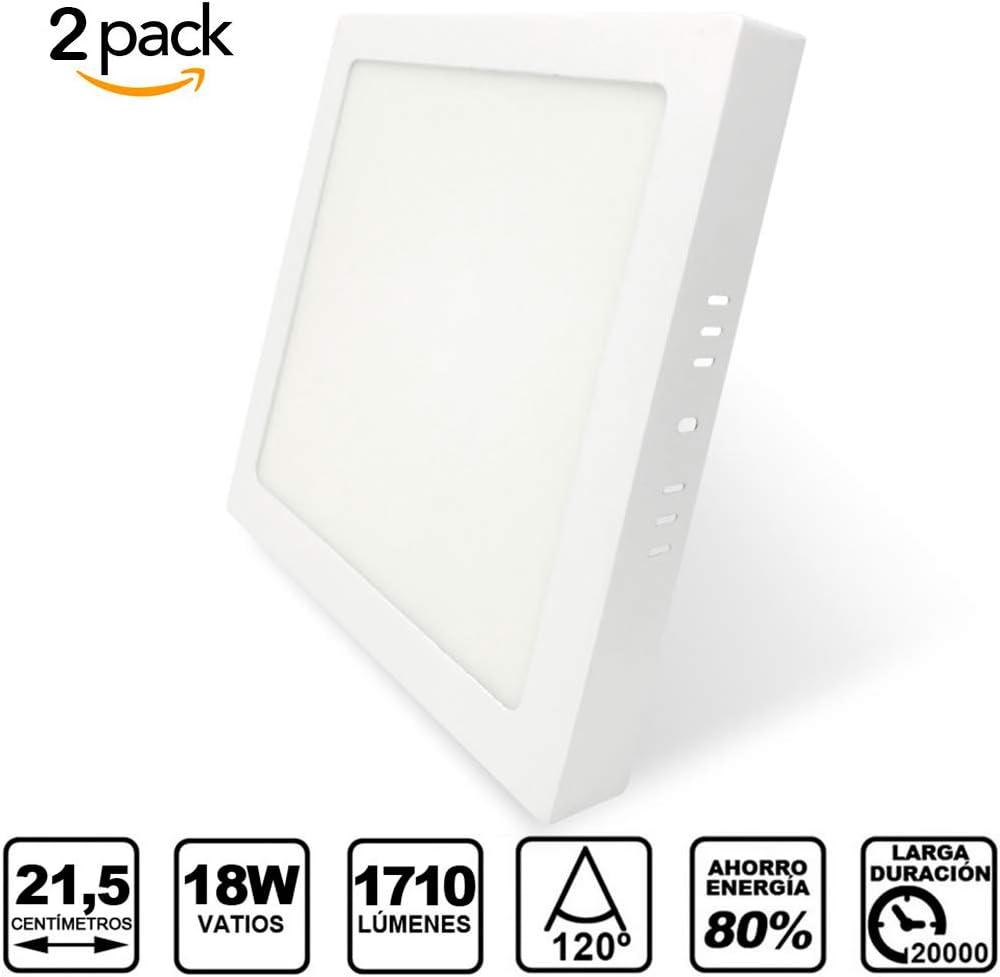 Pack de 2 Paneles LED Cuadrados de Superficie Blanco · Elegante Downlight LED Superficie de 18W con 1710 Lm. · 3000K Luz Blanca Cálida · Tamaño: 215x215x35mm [Clase Energética A]: Amazon.es: Bricolaje y herramientas