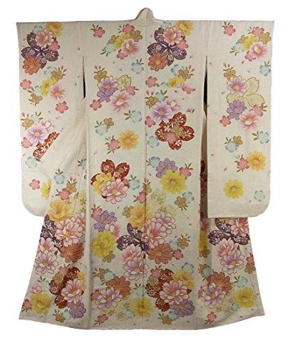 リサイクル 着物 振袖 優美な四季の花々 刺繍 正絹 袷 裄70.5cm 身丈174cm