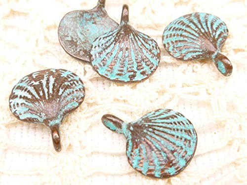 - Jewelry Making Supplies Rustic, Vintage Look, Patina Scallop Shell Charms, Pendants Mykonos Casting