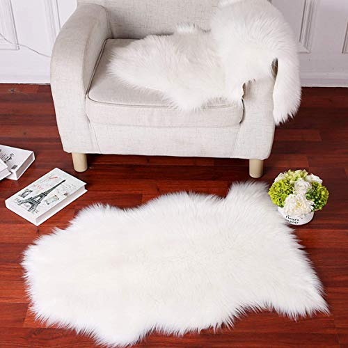 Faux Fur Sheepskin Rug Careu Soft Chair Cover Throw Rug for Lounge Bed Floor Bathroom,White (2.5ft×4ft) Review