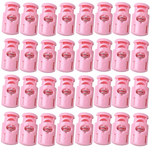J.CARP Plastic Cord Locks End Spring Toggle Stopper, Single Hole Elastic Cord Adjuster, Suit for Drawstrings, Bags, Shoelaces, Clothing, Paracord, and More (30Pcs, Pink)