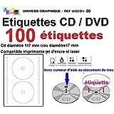100 étiquettes CD - DVD autocollantes standard autocollant de diamètre 117 mm + trou 17 mm - livré avec curseur de placement – feuille de 2 étiquettes – étiquette cd/dvd pour imprimante jet d'encre et laser- pour imprimer et personnaliser vos cd avec des images ou textes - compatibles tous logiciels standards RÉFÉRENCE UGCD1
