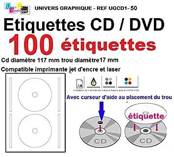 Fabuleux 100 étiquettes CD - DVD autocollantes standard autocollant de  RX01