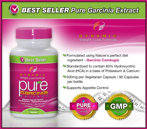 #1 PURE Garcinia Cambogia Extract -Garcinia Cambogia- 500 mg, 90 Veggie Capsules (Featuring Clinically-Proven, Multi-Patented 60% HCA Extract for Weight-Loss) 1,500 mg per Serving