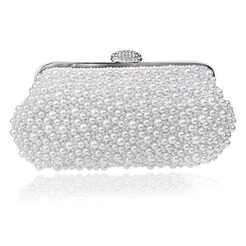 Bag Pure Package White Banquet Beaded Pearl Evening Dinner Women's Crystal Bag x48an5fzwq