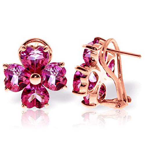 7.6 Carat 14K Solid Rose Gold French Clips Earrings Natural Pink Topaz