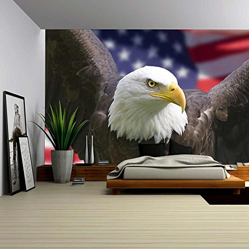 Bald Eagle with American Flag Focus on Head (Clipping Path)