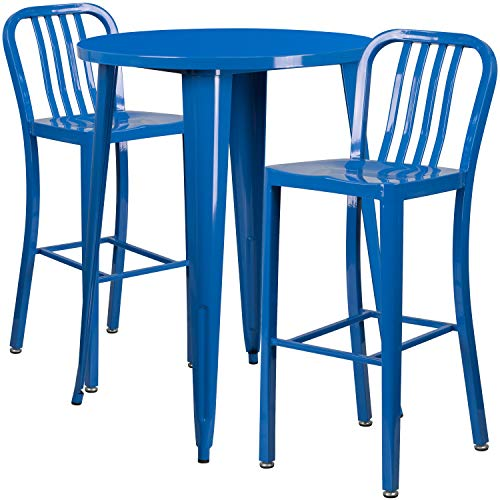 My Friendly Office MFO 30'' Round Blue Metal Indoor-Outdoor Bar Table Set with 2 Vertical Slat Back Stools