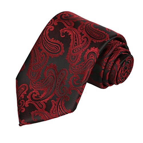 KissTies Burgundy Red Tie Mens Paisley Necktie + Gift Box - Paisley Satin Tie