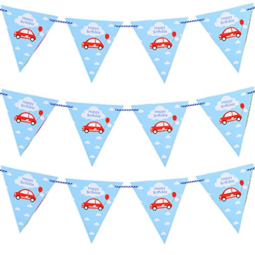 Jowyle Happy Birthday Pennant Flag Banner Decoration with Nostalgic and Romantic Car Prints, Blue, 115 inches]()