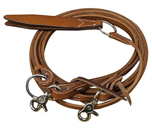 (Showman ® Argentina Cow Flat Romal Reins with Leather Popper)