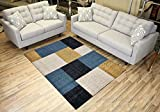 Cheap Studio Collection Squares Geometric Area Rug Rugs (Squares Blue, 5×7)