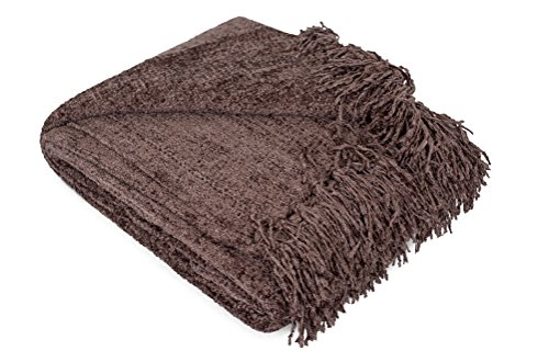 Internet's Best Thick Chenille Throw Blankets | Ultra Soft Couch Blanket with Fringe | Light Weight Sofa Throw | 100% Microfiber Polyester | Easy Travel | Bed (Brown)