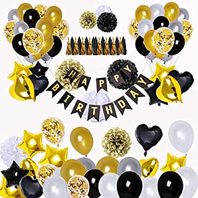 BRT Black And Gold Party Decorations90Pcs Happy Birthday Banner Star Heart Foil Balloons 18th 20th 30th 40th 50th 60th 70th Decorations