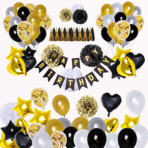 BRT Black and Gold Party Decorations(90Pcs) Happy Birthday Banner Star Heart Foil Balloons 18th 20th 30th 40th 50th 60th 70th Birthday Decorations Birthday Balloons -