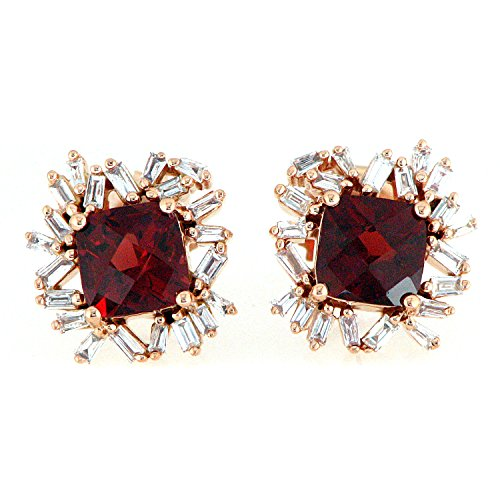 18K Rose Gold Baguette Cut Diamond and Red Garnet Gemstone Stud Earrings (0.42 cttw, G-H Color, I1-I2 Clarity) ()