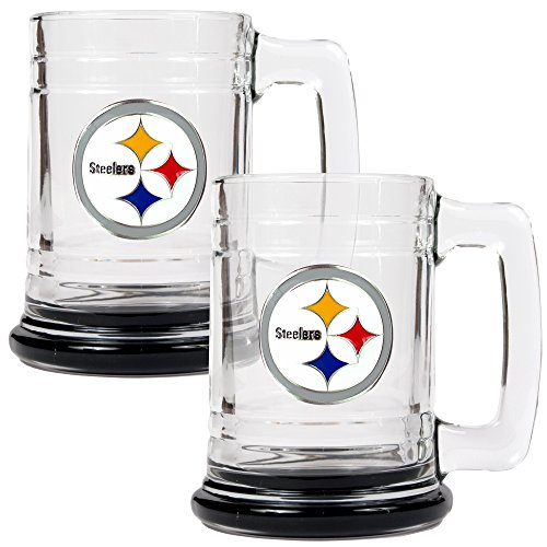 NFL Pittsburgh Steelers Accented Glass Tankard Set (2-Piece), 15-Ounce, Clear