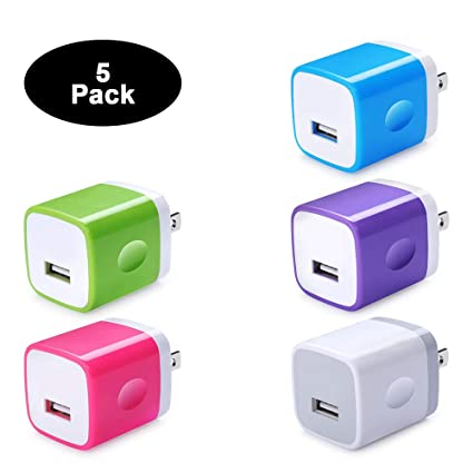 Single Port USB Wall Charger, Charging Block Box Cube NINIBER 1A/5V 5-Pack One Port Charging Brick Base USB Power Adapter Compatible for iPhone ...