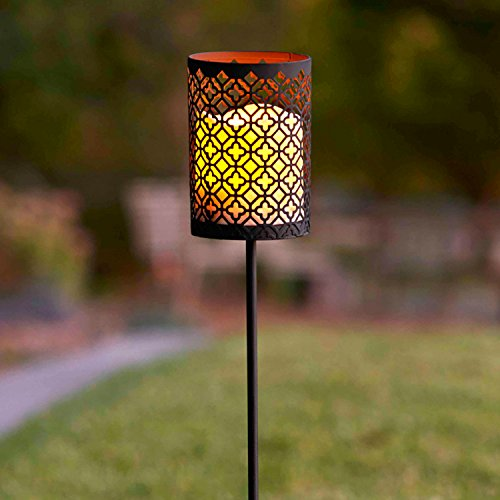 Moroccan Battery Operated Flameless LED Candle Lantern Garden Stake Light (Garden Lanterns For Candles)