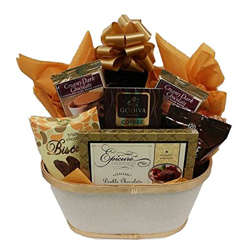 Gift Basket with Chocolate Cookies and Cake - for Men and Women by Gifts Fulfilled (Silver Cake Basket)