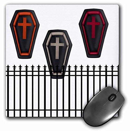 3dRose Anne Marie Baugh - Halloween - Three Halloween Caskets Behind A Fence - Mousepad (mp_216962_1) -