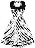 Vintage Sleeveless Swing Dress Womens 1950s Audrey Hepburn Polka Dots a Line D116 (White, M)