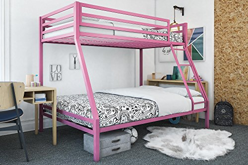 Mainstays Premium Twin Over Full Bunk Bed, Multiple Colors, Pink