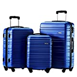 Hard Side Spinner Luggage 3 Piece Set Suitcase Spinner Hard Shell (blue)