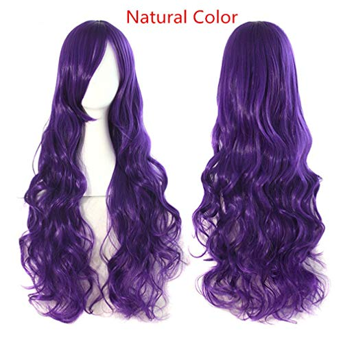 Long Wavy Cosplay Wigs Fake Bangs 29 Colors Pink Women Wig Heat Resistant Synthetic Hair Natural Color 32inches -