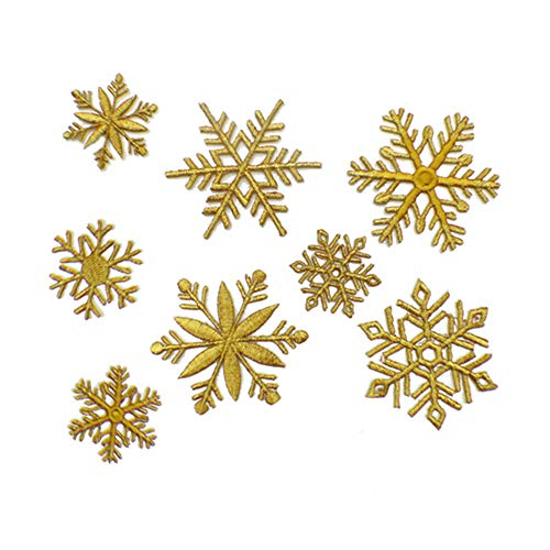 (8 Pcs Cute Snowflake Delicate Embroidered Patches, Christmas Applique Cute Embroidery Patches, Iron On Patches, Sew On Applique Patch,Cool Patches for Men, Women, Kids)