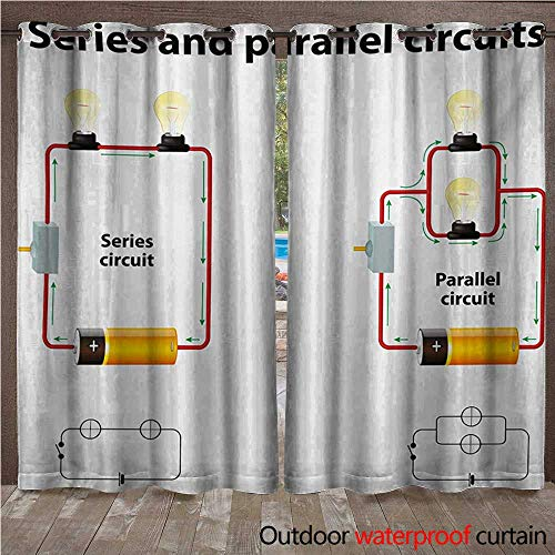 WilliamsDecor Educational Home Patio Outdoor Curtain Series and Parallel Circuits Voltage Electric Science Equipment Print W96 x L96(245cm x 245cm)