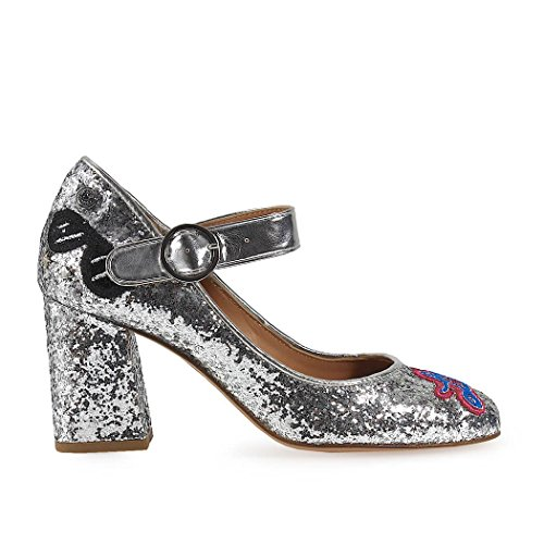 Love Moschino Ladies Shoes Pumps Da Paillettes Argento Primavera-estate 2018
