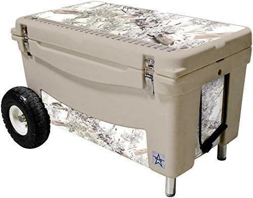 Frio Ice Chests 65Qt Extreme Wheeled Tan Hard Side with King's Camo Snow Theme Vinyl Wrap and Built-in Motion Sensitive Light Bar with Bottle Openers by Frio Ice Chests