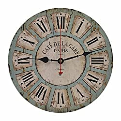 Old Oak 12-Inch Vintage Battery Operated Decorative Wall Clock Silent Non-Ticking Round for Kitchen Living Room Bathroom Bedroom Indoor Wall Home Decor with Roman Numerals