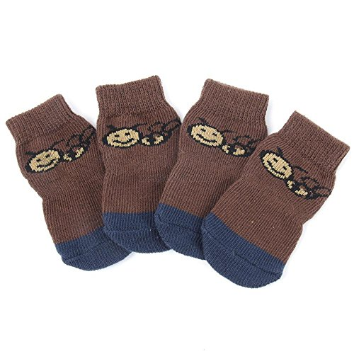 OTFTCWYP Factory Price! Hot Dog Pet Non-Slip Socks Multi-Colors -Puppy Shoe Doggie Clothes Silver L