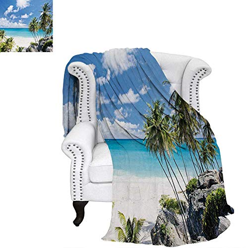 Coast Guard Afghan - warmfamily Summer Summer Quilt Comforter Bottom Bay Barbados Beach Tropical Palms Ocean Holiday Paradise Coast Charm Picture Digital Printing Blanket 62
