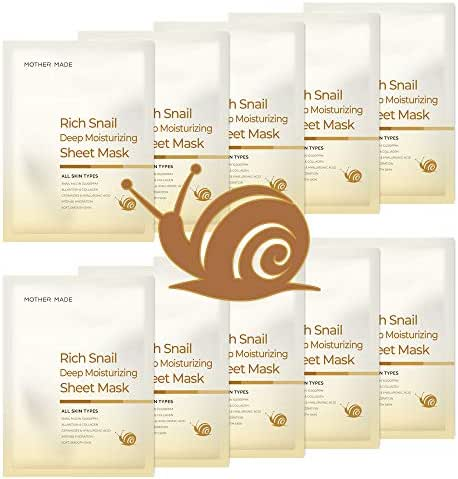 MOTHER MADE Rich Snail Deep Moisturizing Face Sheet Mask, Pack of 10, with Snail Mucin 10,000 ppm, Collagen, Vitamin C - Hydrating, Anti-aging, Anti-Wrinkle, Paraben-free, Cruelty-free, Unscented