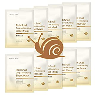 MOTHER MADE Rich Snail Deep Moisturizing Face Sheet Mask Pack of 10, with Cruelty-free Snail Mucin, Collagen, Vitamin C, Hyaluronic Acid - Hydrating, Anti-aging, Unscented, for Women & Sensitive Skin