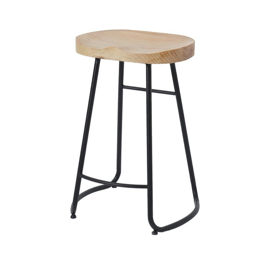 Medium Qi Peng- Modern Minimalist Solid Wood bar Stool, Nordic Fashion bar Stool, Creative Personality Coffee Shop Clothing Store high Stool, Metal Bracket, Sitting Height  45cm 65cm 75cm Bar Chair