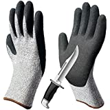 Cut Resistant Gloves, Non-Slip Breathable Work Gloves, Nitrile Grip Coated Level 5 Protection Safety Gloves, Durable for Gardening Construction Woodworking Auto Multipurpose Use.