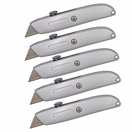 Wideskall Heavy Duty Box Cutter Retractable Blade Metal Utility Knife (Pack of 5)