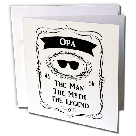 InspirationzStore The Man The Myth The Legend - Opa The Man The Myth The Legend funny - word for grandpa in German - 6 Greeting Cards with envelopes - German Sunglasses In