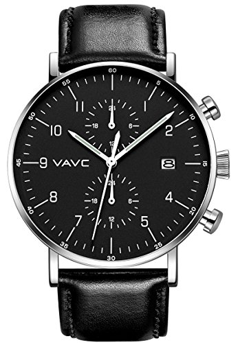 Black Leather Analog (VAVC Men's Fashion Minimalist Casual Dress Black Leather Band Waterproof Quartz Analog Wrist Watch with Black Dial)