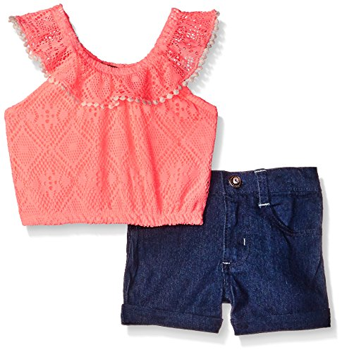 2 Piece Short Set Denim (Limited Too Little Girls' Toddler 2 Piece Diamond Lace Top and Stretch Denim Short, Neon Light Cora,)