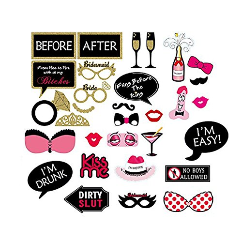 30pcs Funny Photo Party booth DIY Kit for Wedding, Birthday, Reception & Engagement Events & Functions by Wedding (Diy Instagram Selfie Halloween Costume)